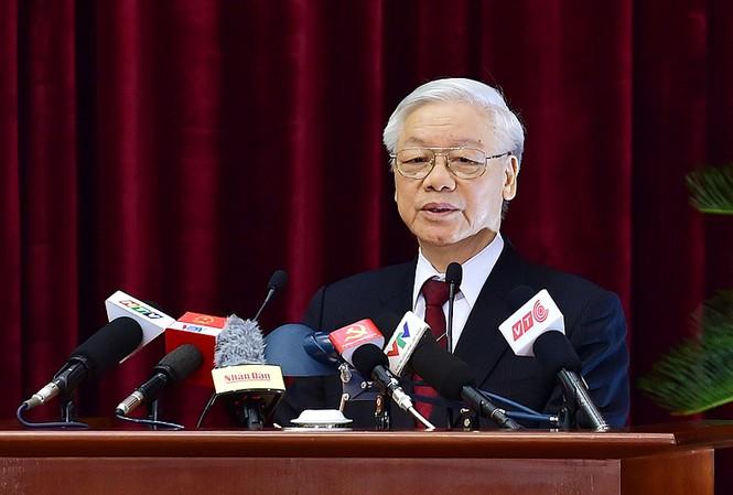 Tổng Bí thư Nguyễn Phú Trọng phát biểu bế mạc Hội nghị Trung ương 4 - Ảnh: VGP/Nhật Bắc