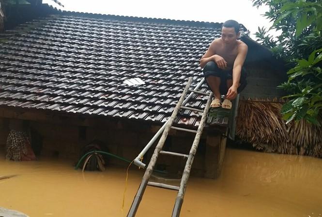 Người dân leo lên nóc nhà trốn lũ.