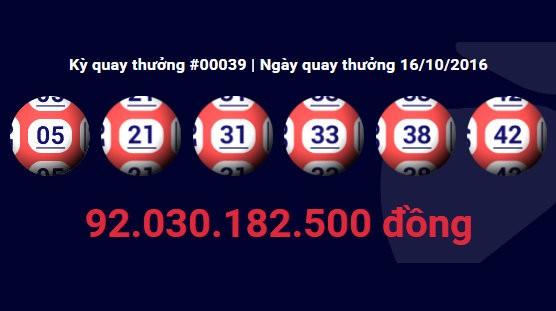 Dãy số trúng thưởng 92 tỷ đồng