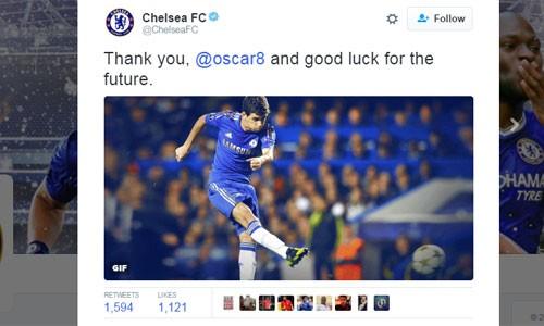 Thông báo chia tay Oscar của Chelsea. Ảnh: Twitter/Chelsea.