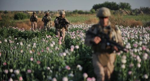 Thủy quân lục chiến Mỹ và lính Afghanistan tuần tra. Ảnh: AFP.