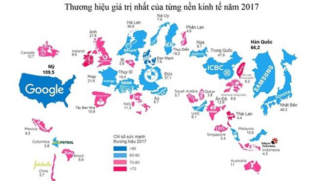 Bản đồ các thương hiệu giá trị nhất thế giới theo từng nền kinh tế