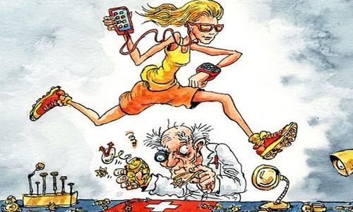 Các nhà sản xuất Thụy Sĩ gặp khó khăn khi giới trẻ thay đổi quan niệm về chiếc đồng hồ. Ảnh minh họa: The Economist