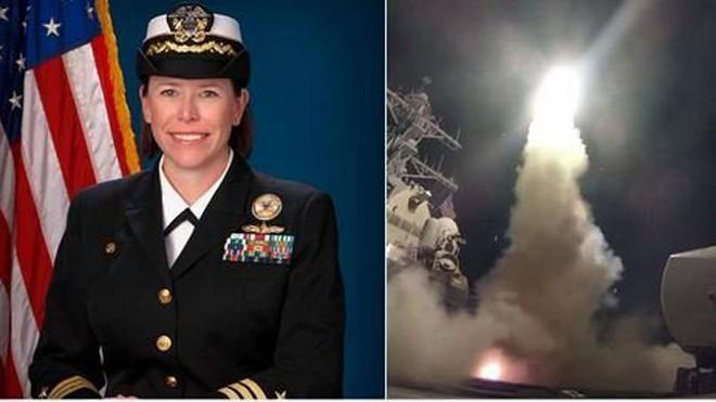 Chỉ huy tàu khu trục USS Porter Andria Slough trong vụ tấn công tên lửa nhằm vào căn cứ không quân Syria. (Ảnh: Twitter)
