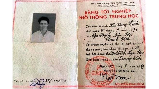 Tấm bằng THPT của ông Bùi Trọng Lĩnh không có trong danh sách cấp bằng của Sở GD-ĐT Thanh Hoá, số vào sổ là của một người khác ở huyện Nga Sơn
