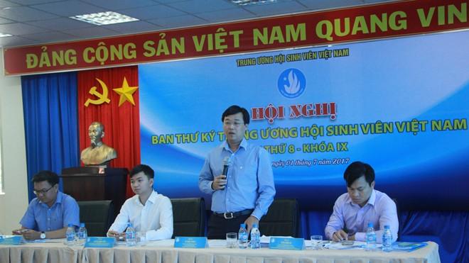 Anh Lê Quốc Phong, Bí thư thứ nhất T.Ư Đoàn, Chủ tịch Hội SVVN phát biểu tại hội nghị