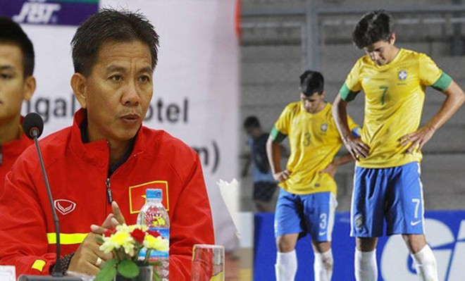 HLV Hoàng Anh Tuấn tiếc vì U20 Brazil bị loại.