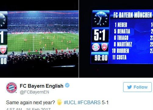 Bayern Munich xát muối vào nỗi đau của Arsenal.