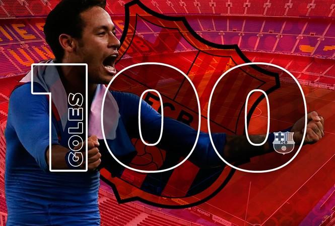 Neymar cán mốc 100 bàn cho Barcelona.