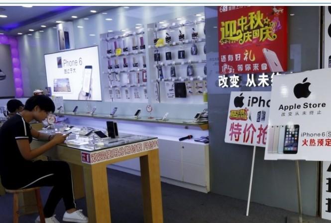 Một cửa hàng bán linh kiện điện thoại ở Thâm Quyến, Trung Quốc