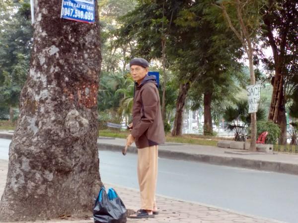 Người đàn ông tay búa, tay dao đục khoét thân cây xà cừ trên đường Láng. Ảnh: Minh Đức