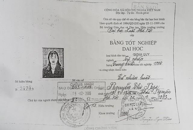 Bằng cử nhân Luật của bà Nguyễn Thị Nga - Thẩm phán TAND thành phố Thái Nguyên, tỉnh Thái Nguyên bị thu hồi.