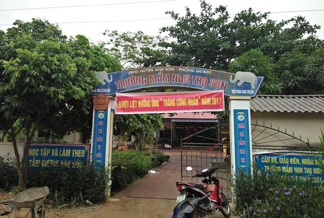 Trường mầm non xã Thọ Sơn nơi xảy ra sự việc.