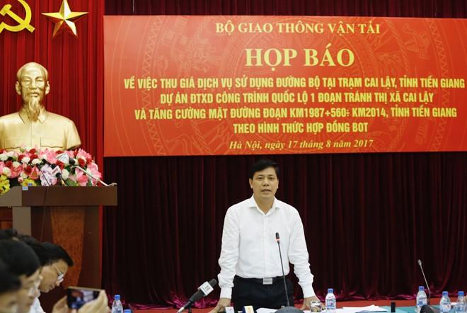 Thứ trưởng GTVT Nguyễn Ngọc Đông tại buổi họp báo. Ảnh Như Ý