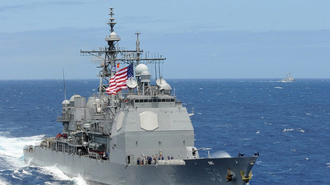 Tuần dương hạm USS Princeton của hải quân Mỹ. Ảnh: US Navy
