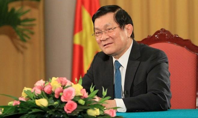 Chủ tịch nước Trương Tấn Sang có bài phát biểu quan trọng trước thềm năm mới 2015. (Ảnh: Nguyễn Khang/TTXVN)