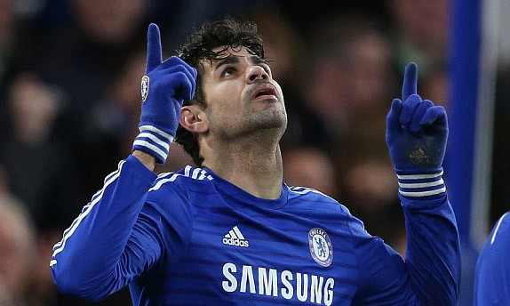 Diego Costa ăn mừng bàn thắng nâng tỷ số lên 2-0 cho Chelsea.