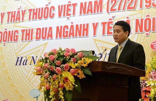 Chủ tịch Hà Nội Nguyễn Đức Chung phát biểu tại buổi lễ