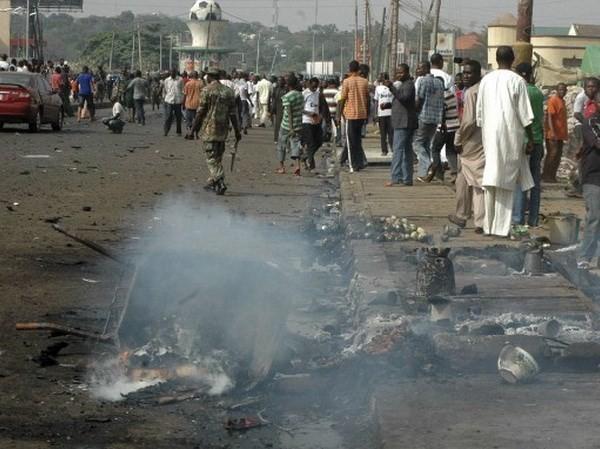 Hiện trường một vụ đánh bom ở Nigeria.