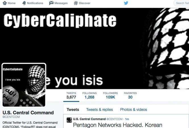 Tài khoản Twitter của Bộ Chỉ huy Trung tâm Mỹ bị tấn công