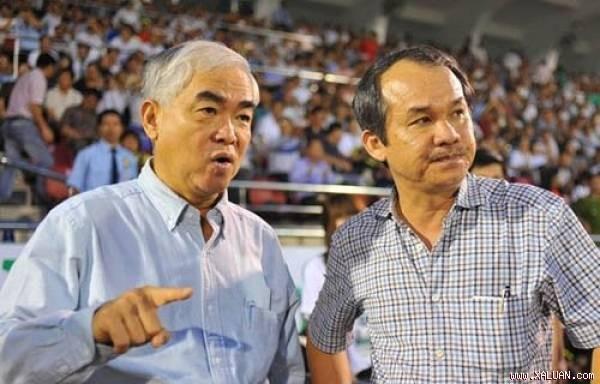Chủ tịch VFF Lê Hùng Dũng (trái) và bầu Đức.