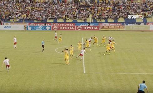 Tình huống trọng tài từ chối bàn thắng của Patrick Cruz ghi vào lưới Thanh Hoá ở phút 62.