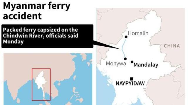 Nơi xảy ra vụ tai nạn phà ở Myanmar.