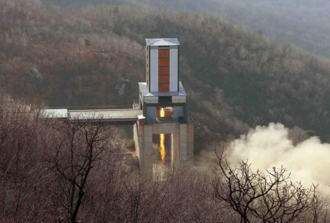 Một động cơ ICBM được thử nghiệm tại Trung tâm Không gian Sohae ở Cholsan, tỉnh Pyongan, Triều Tiên.