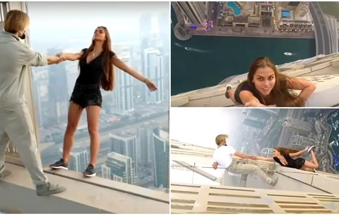 Người mẫu liều mạng đu người trên nóc tòa nhà chọc trời