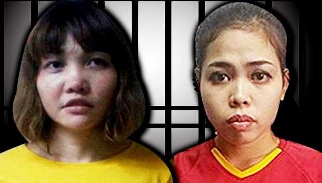 Hai nghi phạm ám sát ông Kim Jong Nam là Đoàn Thị Hương (trái)  và Siti Aisyh
