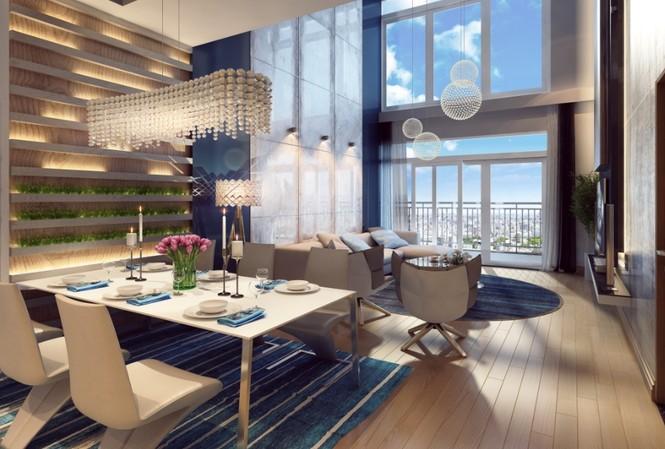 Không gian 1 căn hộ thông tầng duplex tại The Arcadia – Vinhomes Gardenia với cửa sổ rộng lớn, mở ra một khoảng trời thoáng đãng (Ảnh minh họa).
