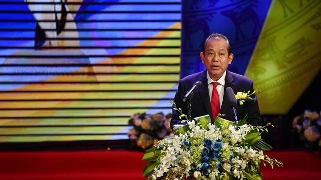 Phó Thủ tướng Thường trực Chính phủ Trương Hòa Bình phát biểu tại Lễ công bố;