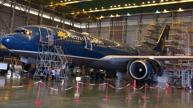 Nhà hangga bảo dưỡng máy bay của VNA đạt nhiều chứng chỉ quốc tế.