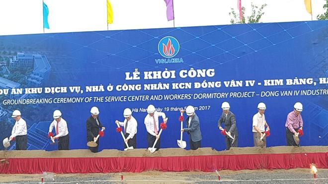 Lãnh đạo Bộ Xây dựng, tỉnh Hà Nam, Tổng Công ty Viglacera cắt băng khánh thành