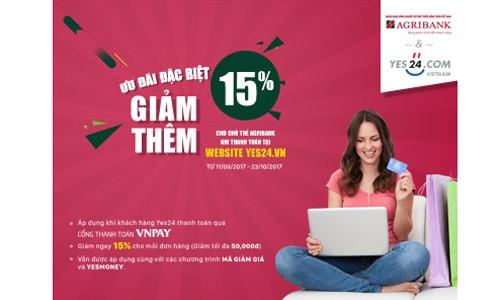 Giảm giá 15% tại website Yes24.vn cho khách hàng của Agribank