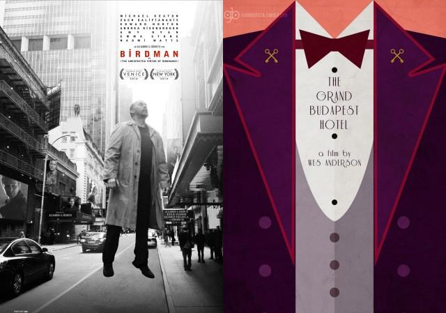 'Birdman' (trái) và 'The Grand Budapest Hotel' (phải) là 2 phim nhận được nhiều để cử nhất tại Oscar mùa thứ 87.
