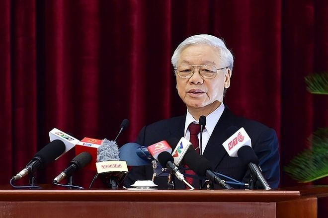 Tổng bí thư Nguyễn Phú Trọng phát biểu bế mạc Hội nghị Trung ương 4. Ảnh: Chinhphu.vn
