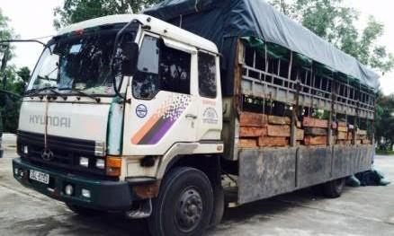 Chiếc xe tải chở gỗ lậu. Ảnh: Công an Thanh Hóa.