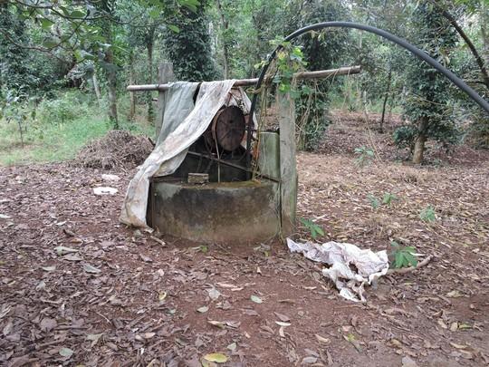 Cái giếng nơi phát hiện thi thể cháu V