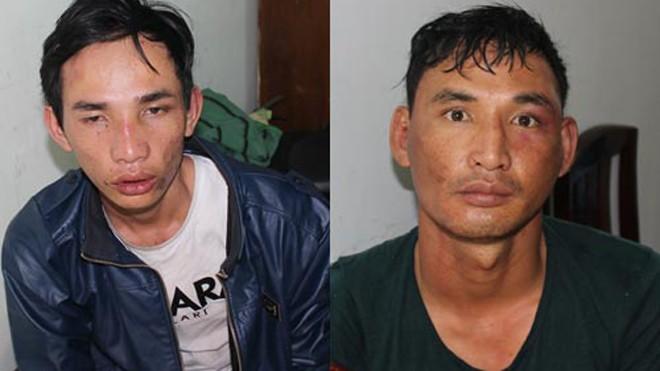 Nguyễn Văn Vương (bên trái) và anh Nguyễn Văn Nhất tại cơ quan công an