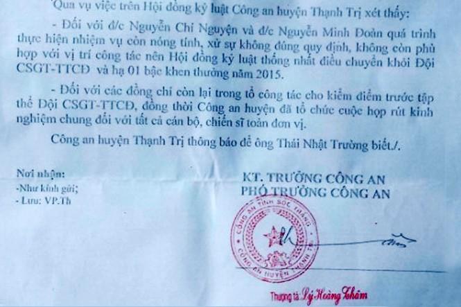 Kết quả xử lý tố cáo cảnh sát đánh dân của Công an huyện Thạnh Trị, tỉnh Sóc Trăng