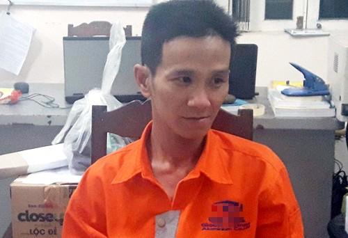 Nghi can Huỳnh Ngọc Phương tại cơ quan điều tra. Ảnh: C.A