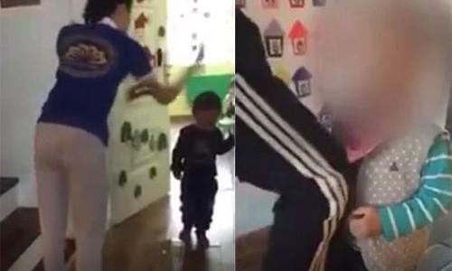 Hình ảnh hai giáo viên mầm non bạo hành trẻ. Ảnh cắt từ clip
