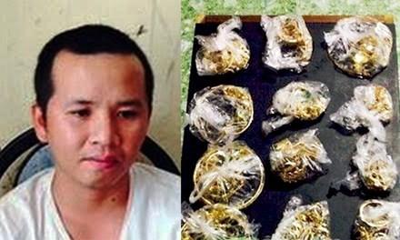 Cảnh sát thu giữ nhiều túi vàng do nhóm nghi can trộm được ở huyện Hoài Nhơn (Bình Định) và nghi can Nguyễn Tiến Thiện tại cơ quan điều tra
