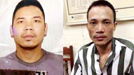 Hai đối tượng đang bị truy nã gồm Nguyễn Văn Tình (trái) và Lê Văn Thọ