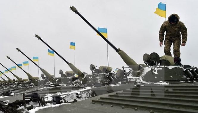 Xe quân sự mới được bàn giao cho các lực lượng Ukraine. Nguồn: AFP/TTXVN.