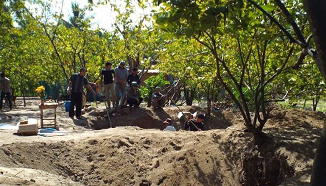 Khoảnh đất của gia đình ông Xê, nơi đã phát hiện hố hài cốt chôn tập thể.