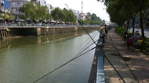 Cần câu bủa xuống lòng kênh Nhiêu Lộc-Thị Nghè vào chiều 22/1. Ảnh: Đình Phú.