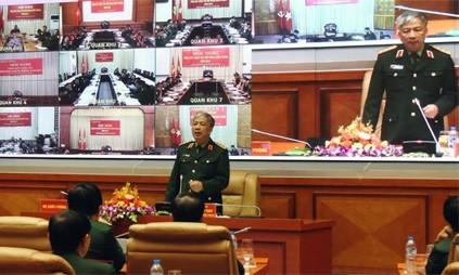 Thượng tướng Nguyễn Chí Vịnh tại hội nghị. Ảnh: QĐND.