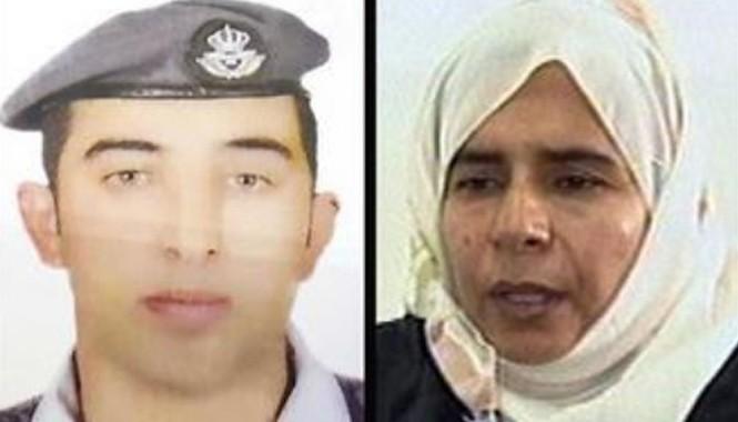 Phi công Jordan Muath al-Kaseasbe (trái) và Sajida al-Rishawi, một nữ tù nhân Iraq đang bị giam ở Jordan. Ảnh: AP.